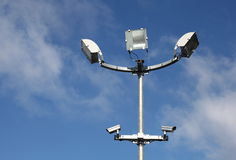Security Lights Surveillance Cameras Stock Photo