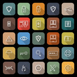 Security line flat icons with long shadow Royalty Free Stock Photos