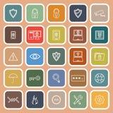 Security line flat icons on orange background Royalty Free Stock Photography