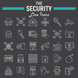 Security line icon set, cyber protection signs Stock Image