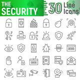 Security line icon set, protection symbols collection, vector sketches, logo illustrations, defense signs stock images
