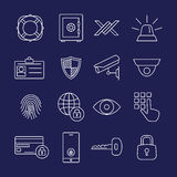 Security line icons. Protection and security line icons Royalty Free Stock Image