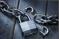 Free Security Lock Burglary Chains Broken Padlock Stock Photos - 27813773