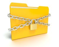 Security lock and chain with a Folder Stock Images