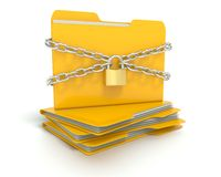 Security lock and chains with a Folder Royalty Free Stock Photo