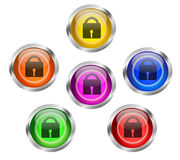 Security Lock Icon Button Stock Image