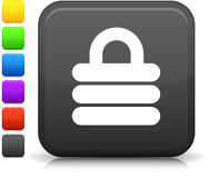 Security lock icon on square internet button Stock Photos