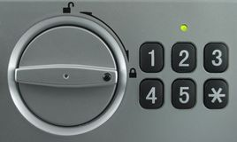 Security lock keypad. With the knob in the lock position Royalty Free Stock Photo
