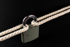 Security Lock Securing Rope Together Stock Images