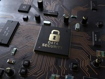 Security lock symbol on circuit board stock images