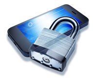 Security Locked Cell Phone Lock Royalty Free Stock Photography