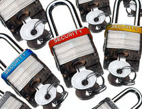 Security Locks. Security pad locks on reflective surface Stock Photo