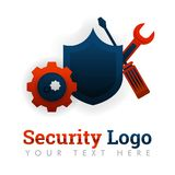 Security logo template for repair, upgrading, maintenance, manufacturing, industry, tools, safety, mechanics, networking, internet. Security logo template for stock illustration