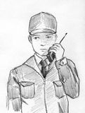 Security man pencil sketch. Hand drawn pencil sketch of a security man speaking by radio Royalty Free Stock Images
