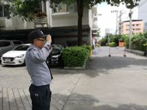Security man standing outdoor,bangkok stock photos