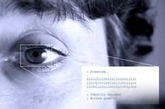 Security - matching identity. Security system, iris scan. Some additional text Stock Photos