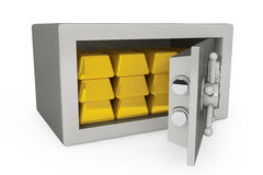 Security metal safe with golden bars. On a white background Stock Photography