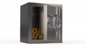 Security metal safe with golden symbol inside.  Stock Photo