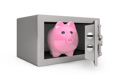Security metal safe with Piggy Bank Royalty Free Stock Photography