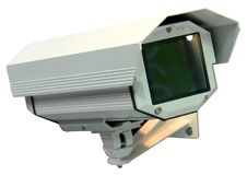 Security monitor. Security camera on the white background Royalty Free Stock Photography