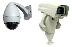 Security monitor. Two types security camera on the white background Stock Photography
