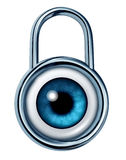 Security Monitoring. Symbol with a strong metal lock icon and an eye ball looking and searching for potential dangers of criminal acts on computer network Royalty Free Stock Photo