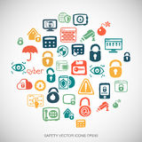 Security Multicolor doodles Hand Drawn Security Icons set on White. EPS10 vector illustration. Royalty Free Stock Image