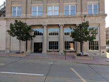 Security National Bank Building Entrance. The Security National Bank building entrance facade and doors in Sioux Falls, South Dakota Stock Photography