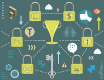 Security network concept. Social media security concept with trophy linked to padlocks and bubble icons, infographics elements and grunge texture Royalty Free Stock Image