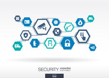 Security network. Hexagon abstract background Stock Image