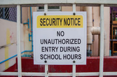 Security notice no unauthorized entry during school hours. Sign royalty free stock images
