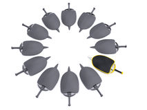 Security objects. Shields and swords leadership. 3d Stock Photography
