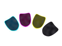 Security objects. Four CMYK shields. 3d on white Stock Photo