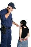 Security Officer calling police. Security officer calls for police to take away a criminal stock images
