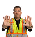 Security Officer Directing Isolated Stock Photo