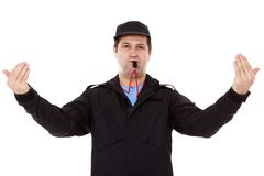 Security officer directs traffic Stock Photos