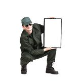 Security officer shows monitor. Isolated on a white background Stock Image