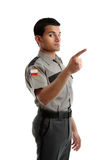 Security officer or warden pointing finger Stock Images