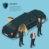 Security officers protects car with VIP person Stock Photo