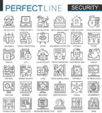 Security outline mini concept symbols. Data PC Protection technology modern stroke linear style illustrations set Royalty Free Stock Images