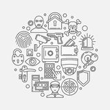 Security outline round illustration Stock Photos