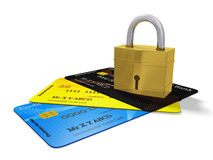 Security Pad Lock on Credit Cards Royalty Free Stock Images