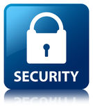 Security (padlock icon) blue square button Stock Photo