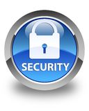 Security (padlock icon) glossy blue round button Royalty Free Stock Photos