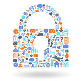 Security Padlock Shape Icon Set Royalty Free Stock Photography