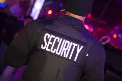 Security Personnel wearing his uniform. Security person guarding the venue Royalty Free Stock Photo