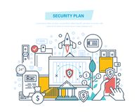 Security plan. Safe storage of financial savings, data, information protection. Security plan. Safe storage of financial savings, data and information Stock Image