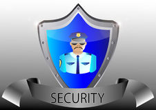 Security policeman in uniform and goggles  Stock Photo