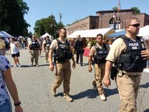 Security at a Popular Street Fair, Rutherford, NJ, USA royalty free stock photos