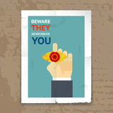 Security Poster with Surveillance Concept vector illustration